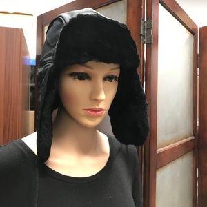 435fbca3af230 UGG Accessories - UGG Quilted Nylon Trapper With Fur Black Hat